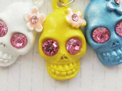 Metal Day of the Dead Sugar skull with Pink rhinestone eyes Necklace