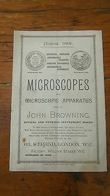 John Browning S 1891 Catalogue Of Microscopes & Microscopic Apparatus Scientific