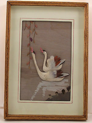 Hand Crafted Feather Art 3D Swans Framed Picture