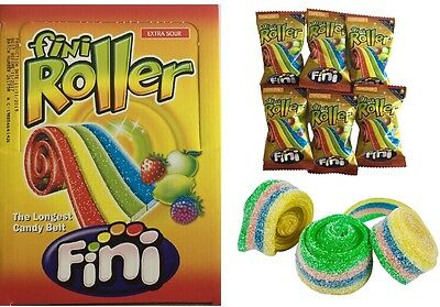 Bulk Lollies x 40 Fini Roller Extra Sour The Longest Candy Belt Rainbow Sweets