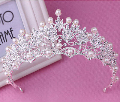 Wedding Bridal Crystal Pearl Silver Queen Crown Tiara Hair Accessories Headband