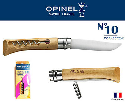 Opinel France No10 Stainless Steel Beech Wood Folding Knife With Corkscrew