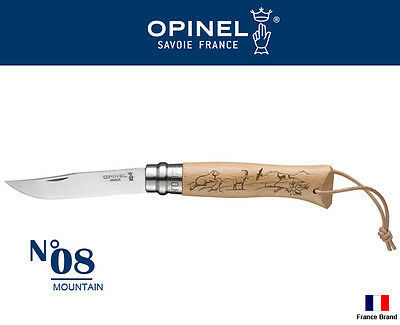 Opinel France No08 Tradition MOUNTAIN Beech Handle Folding Knife With Leather