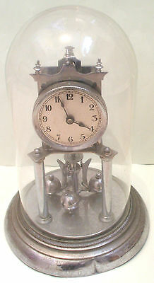 German Anniversary 400 Days Chrome Case Mantle Clock with Glass Dome GWO