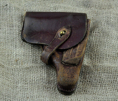 Old Vintage Ww2 Wwii Original Officer Leather Brown Red Pistol Holster