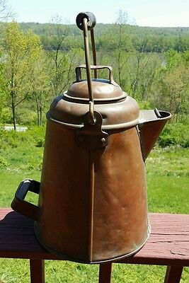 Huge 1890's Early 1900's US Navy Mess Hall Galley Copper Over Tin Coffee Pot