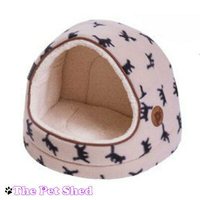 Cat Kitten Fleece Snuggle Soft Cosy Warm Washable Hooded Igloo Pet Bed