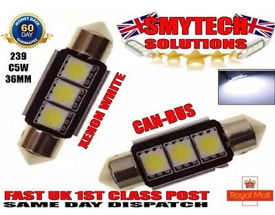 Ford Fiesta Mk 6 & 5 99-07 Xenon White Canbus No Error Number Plate Bulbs. 3 Led
