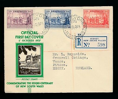 Australia 1937 Illustrated Fdc New South Wales Registered