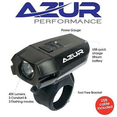 Azur 400 Lumens USB Headlight - Front Bike Light Rechargeable Bike light