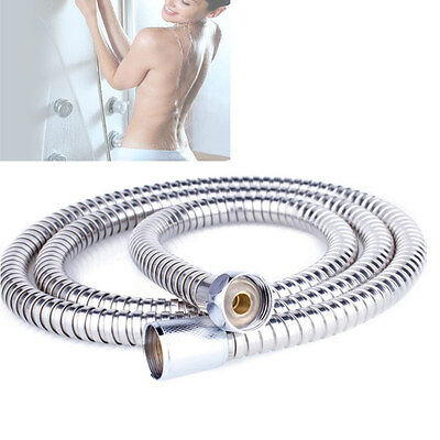 2m Flexible Stainless Steel Chrome Standard Shower Head Bathroom Hose Pipe New