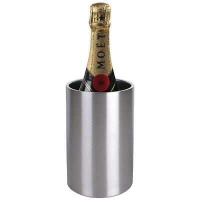 Olympia Double Wall Wine Cooler Brushed Finish Champagne Drinks Display Chiller