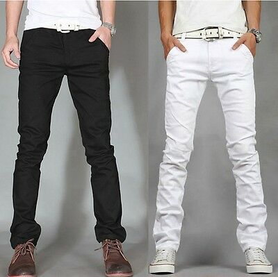 NEW MENS SLIM FIT STRETCHY JEANS SKINNY PANTS WHITE BLACK SIZE 28 to 38