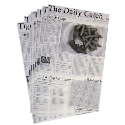 500x Greaseproof Paper Squares Newsprint Takeaway Newspaper Food Presentation