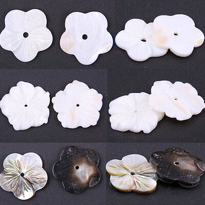 50/100x Natural Pearl White Rose/Stripe Plum Flower Shell Loose Beads Gemstone