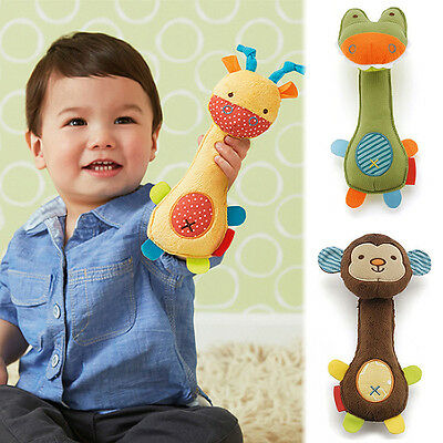Best Animal Handbells Musical Developmental Toy Bells Kids Baby Soft Toys Rattle