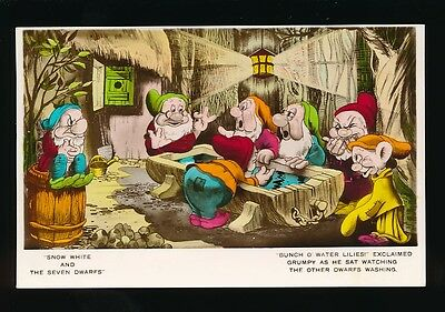 WALT DISNEY Snow White Grumpy Dwarfs washing c1930s Valentine RP PPC no number