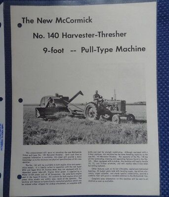 1954 IH McCormick No. 140 Harvester Thresher Pull Type Spec Brochure