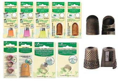 Clover Thimble Sewing Quilting Leather Embroidery Adjustable Fit SELECT DESIGN!