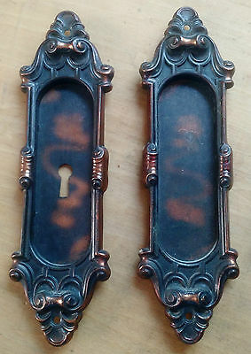 Pair Antique Pocket Door Hardware Yale & Towne Meridian Pattern c1905 Japanned