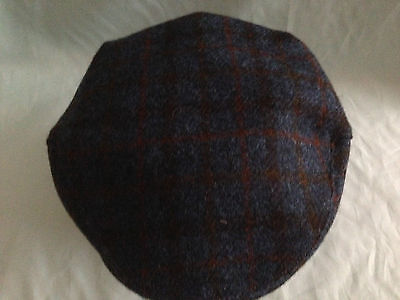 Gents Blue Harris Tweed Flat Cap Driving Hat Scots Bunnit From Scotland