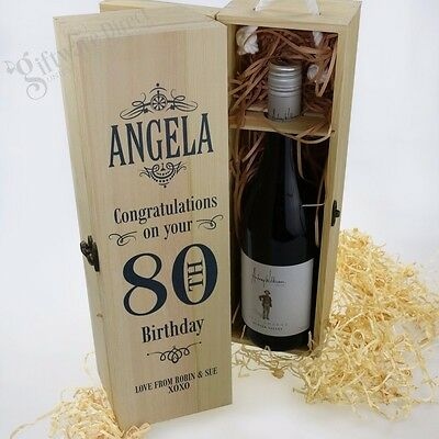 Personalised Wooden Birthday Wine Box Champagne Gift ALL AGES Present 30th, 50th