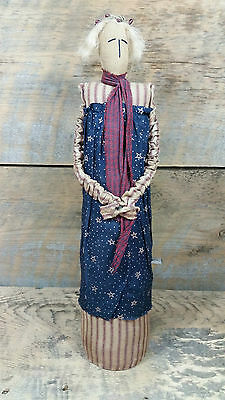 """The Brown House Primitive Cloth Doll 18.5"""" American Flag Stars Stipes July 4th"""