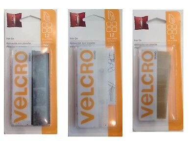 "Velcro Iron On 12 Pack 1""x3/4"" Fasteners Hook & Loop SELECT YOUR COLOR!"