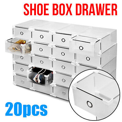 20pcs Clear Shoe Storage Drawer Cases Boxes Stackable Foldable Home Wardrobe