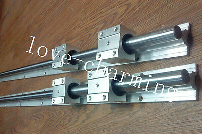 2 SBR25-600mm 25MM FULLY SUPPORTED LINEAR RAIL SHAFT+4 SBR25UU BEARING BLOCK