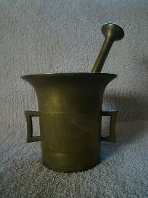 Antique 19th Century European Vintage Brass Mortar & Pestle 9.9 lbs Heavy