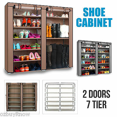 2 Doors Cover 7 Tier Shoe Rack Organizer Cabinet Storage BROWN/SILVER AU POST