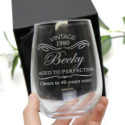 Personalised Engraved Stemless Wine Glass GIFT Birthday 18th, 21st, 40th Present