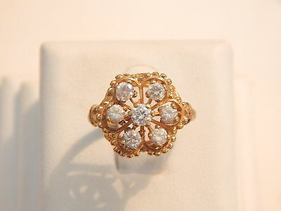 Vintage Jewellery - 18ct Gold Plated & Cubic Zirconia Ring  - Deceased Estate