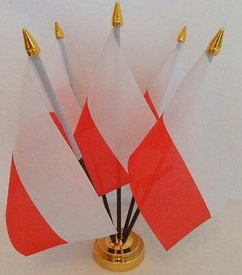 Poland Polish Federal 5 Flag Flags Desktop Table Display Centrepiece Gold Base