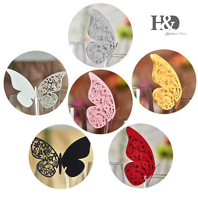 Butterfly Place Name Cards Table Mark Wine Glass Wedding Favour Xmas Party Decor