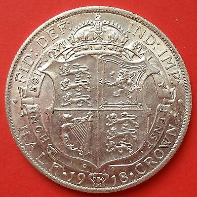 Top Grade 1918 Half Crown. Free P&p For The Uk