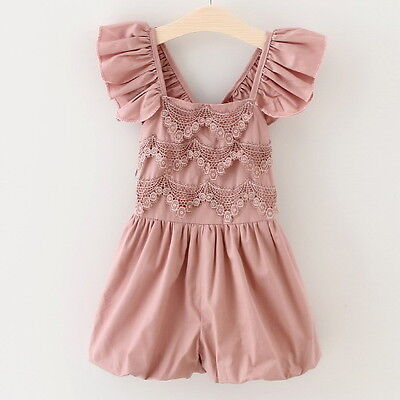New Girls Children Clothes Lace Sleeveless Jumpsuit Playsuit