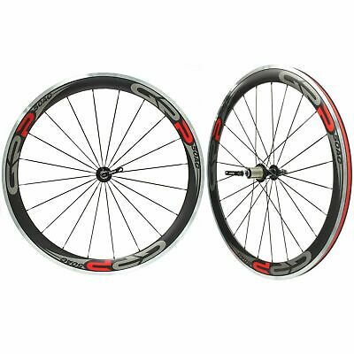 GRP Road Bike Carbon 50mm Deep Clincher Wheelset Campagnolo 11 Speed