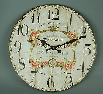 Vintage Style Cream Gold Chintz Rose Wall clock Pink Roses French Parfum Floral