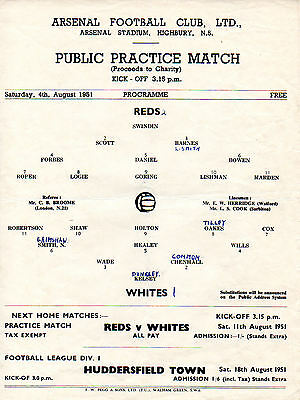Arsenal Public Practice Match Reds v. Whites 4/8/1951