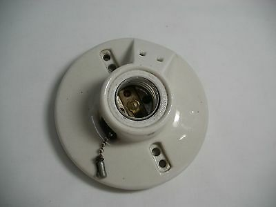 Vintage Porcelain Light Fixture LEVITON 2  w/outlet, chain and plug insert