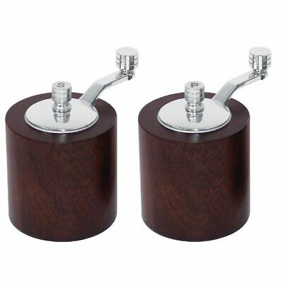 2X Olympia Dark Wood Salt & Pepper Mill Grinder Set Kitchen Spice Shaker