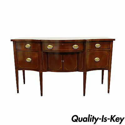 Vintage Baker Inlaid Mahogany Bow Front Hepplewhite Sideboard Server Buffet