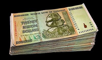 30 x Zimbabwe 20 Billion Dollar banknotes- paper money currency