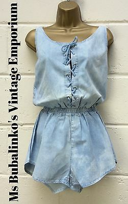 Vintage 90s Bleach Blue Denim Lace Up Playsuit Romper 8 10 Ibiza Rave Festival