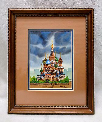 Matted Colorful European Church Watercolor Painting w. Vintage Decor Wood Frame