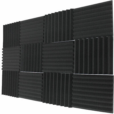 """48 Pack Acoustic Wedge Soundproofing Studio Foam Wall Tiles 12"""" X 12"""" X 1"""" USA"""