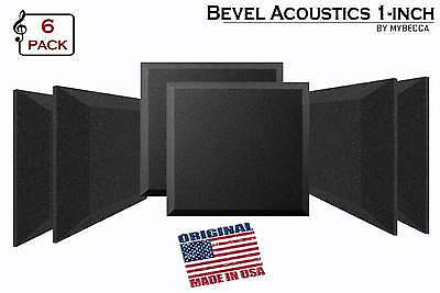"""[6 PACK] Soundproofing Acoustic BEVEL Foam Tiles Wall Panels 12"""" X 12"""" X 1"""