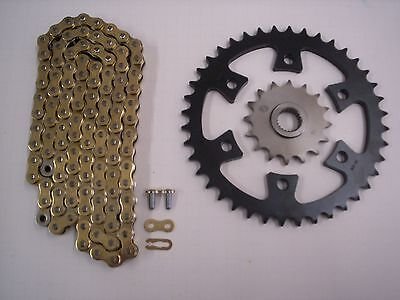 BOMBARDIER DS650 all models SPROCKET & GOLD CHAIN SET 16/40 2004 2005 2006 blk